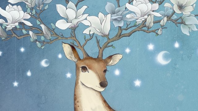 animal deer sika deer magnolia, Drawn, Illustration, Animal illustration image