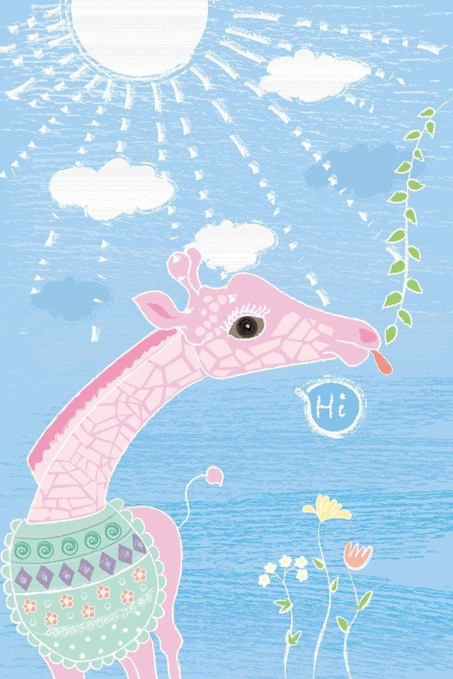 animal lovely cartoon beautiful, Flower, Sun, Pink illustration image