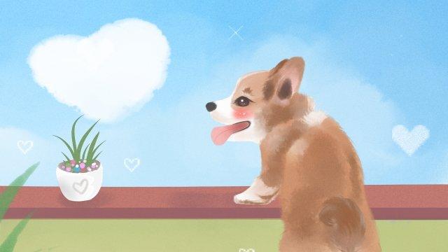 animal lovely cute pet keji, Short Leg, Back, Watercolor illustration image