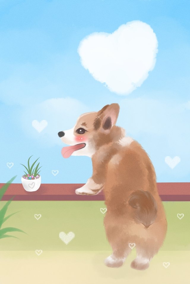 animal lovely cute pet keji, Short Leg, Back, Watercolor illustration image