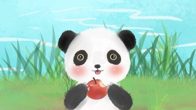 動物の素敵なパンダアップル イラスト素材