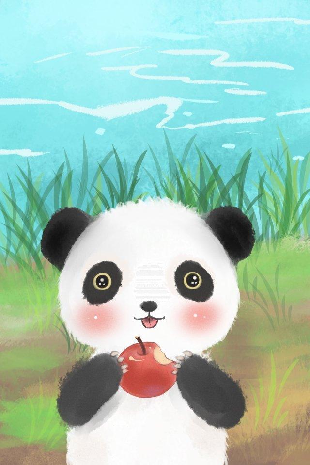 動物の素敵なパンダアップル イラスト画像