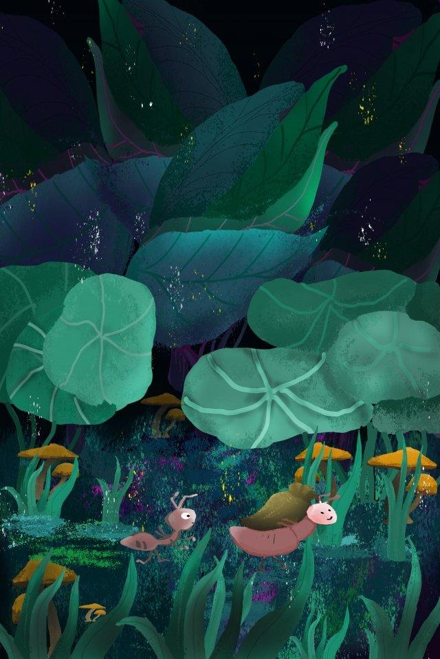 ant lotus leaf grass tree illustration image