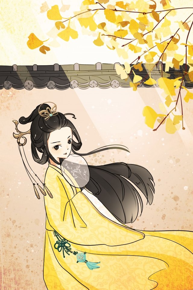 antiquity ginkgo fallen leaves girl, The Ancients, Costume, Hand Painted illustration image