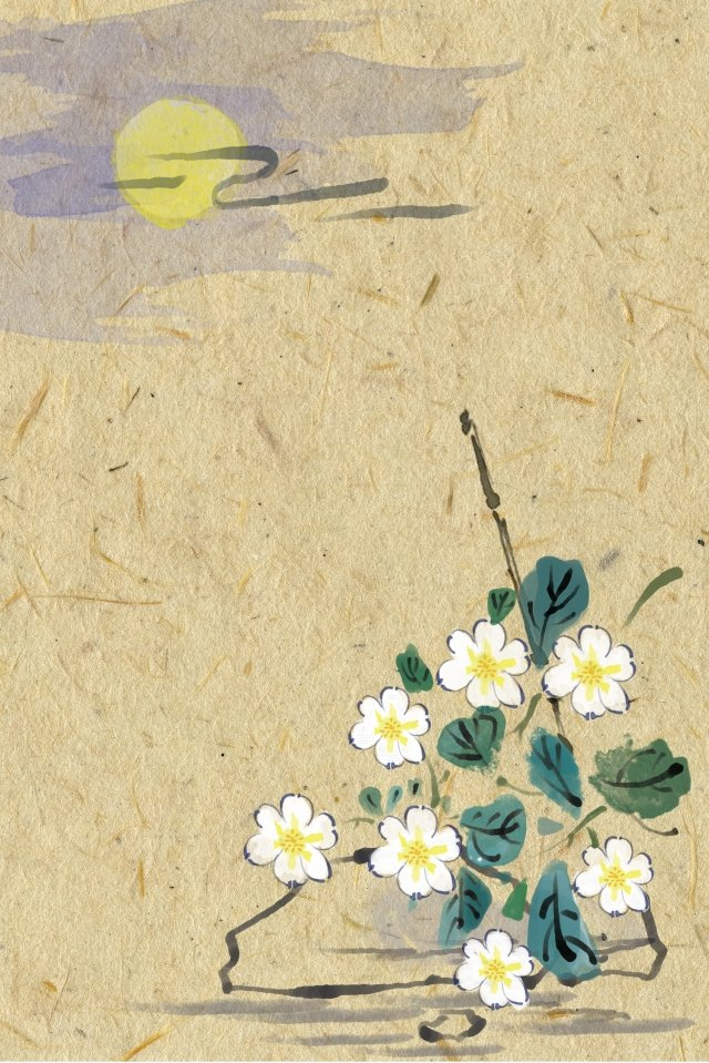 antiquity ink light color flowers, Tea Millet, Plant, Traditional Chinese Painting illustration image