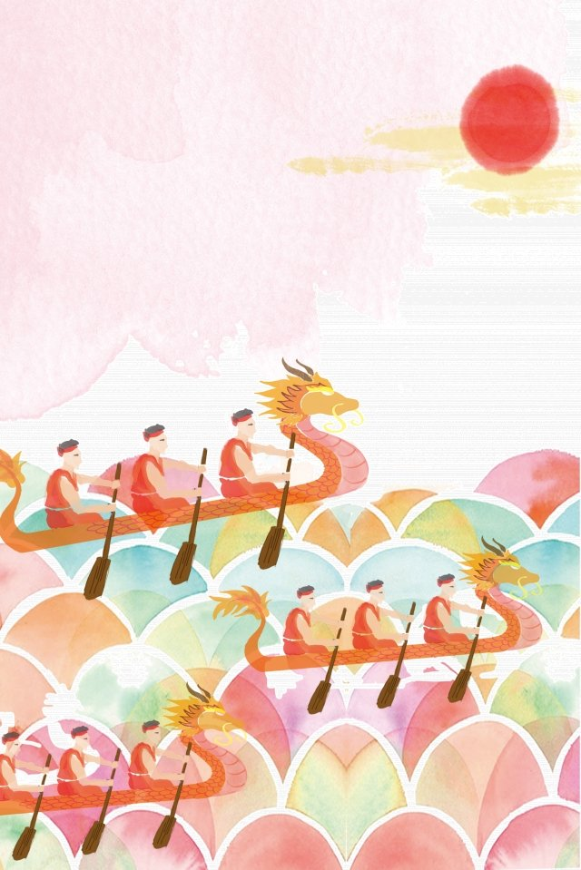 antiquity ink light color hand painted, Dragon Boat Race, Dragon Boat Festival, Custom illustration image