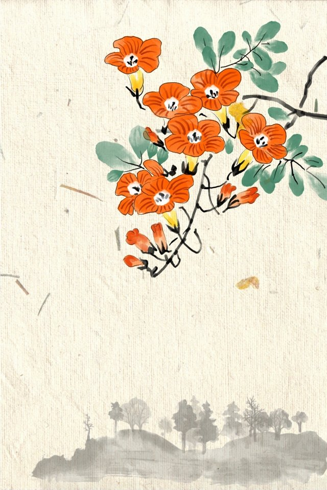 antiquity ink light color traditional chinese painting, Campsis, Flowers, Plant illustration image