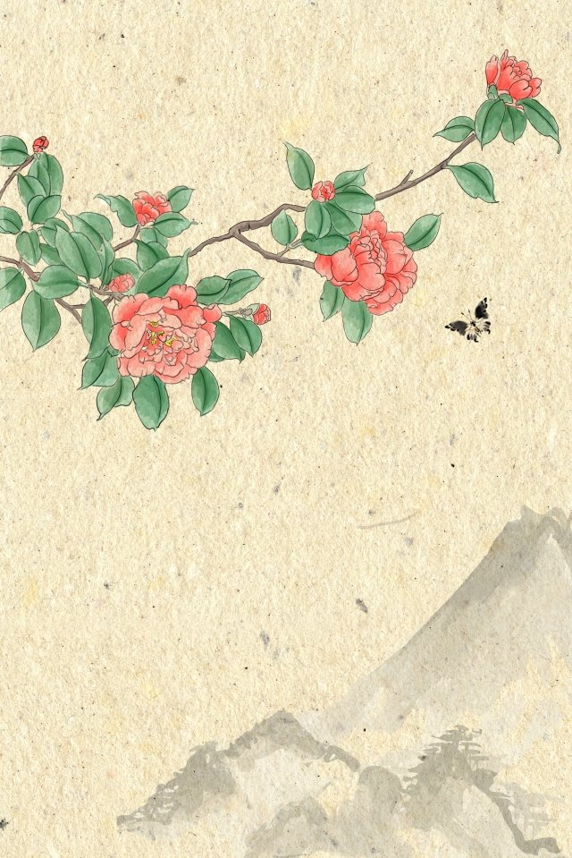 antiquity ink light color traditional chinese painting, Flowers, Plant, Camellia illustration image