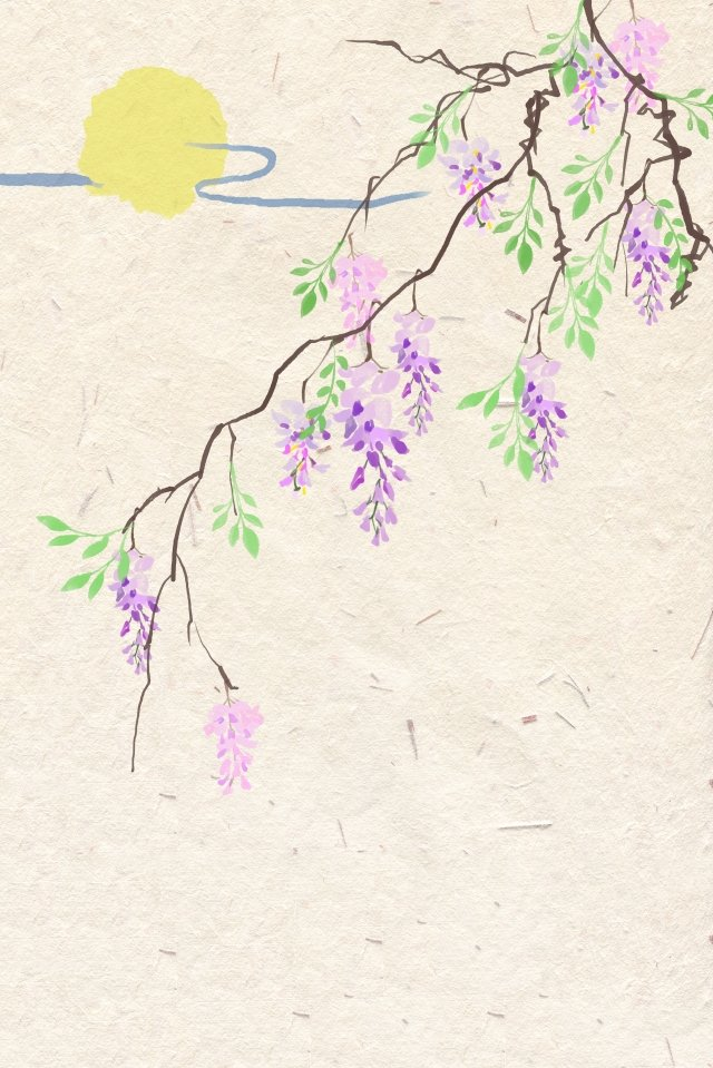 antiquity ink light color traditional chinese painting, Flowers, Plant, Wisteria illustration image