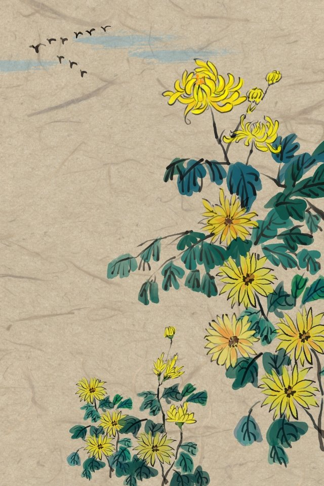 antiquity ink traditional chinese painting chrysanthemum, Autumn, Wild Goose, Antiquity illustration image