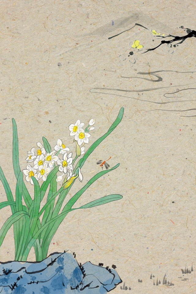 antiquity ink traditional chinese painting daffodil, Light Color, Illustration, Antiquity illustration image