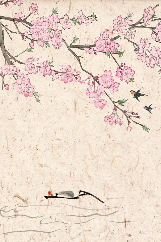 antiquity ink traditional chinese painting light color, Peach Blossom, Ferry, Spring illustration image