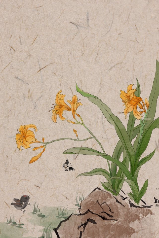 antiquity ink traditional chinese painting light color, Valerian, Butterfly, Chick illustration image