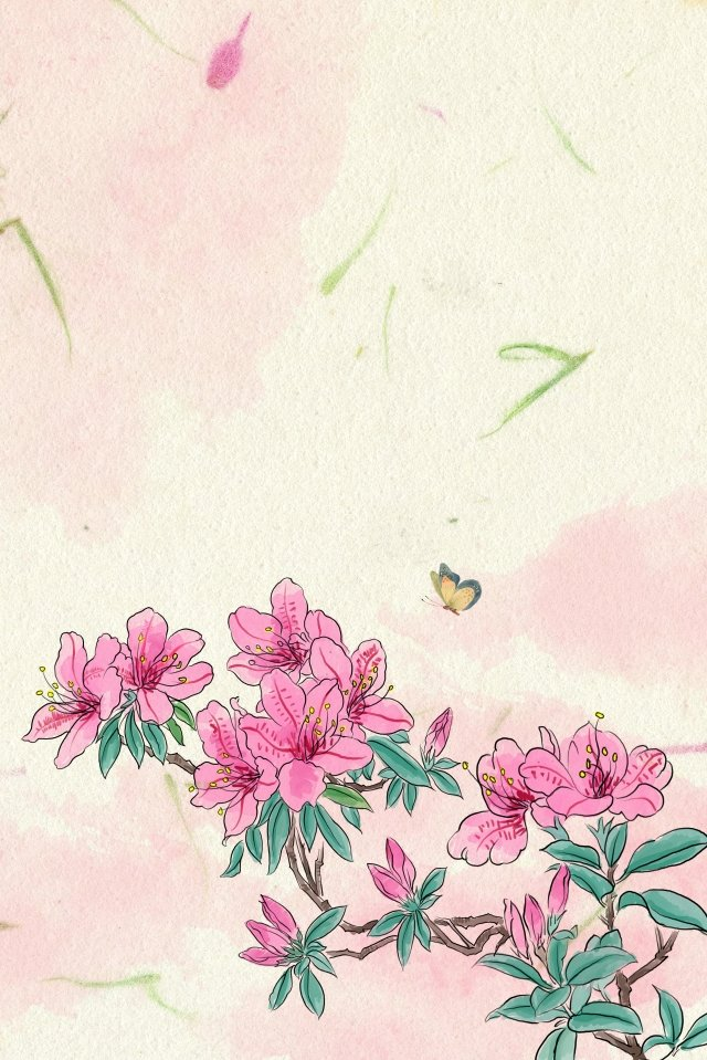 antiquity ink traditional chinese painting light color, Flowers, Plant, Rhododendron illustration image