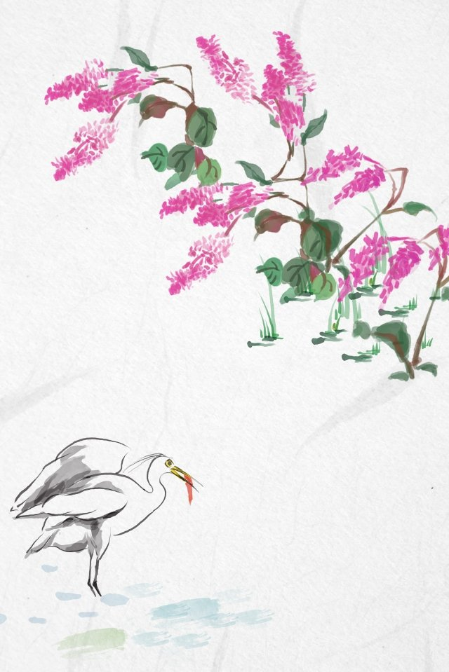 antiquity ink traditional chinese painting light color, Silk Flower, Flowers, Plant illustration image