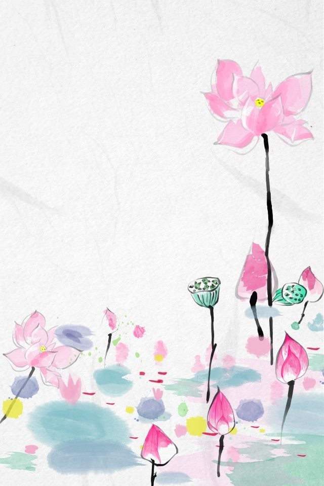 antiquity ink traditional chinese painting lotus, Freehand, Light Color, Lotus illustration image