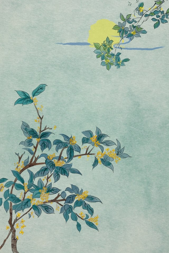 antiquity ink traditional chinese painting osmanthus, Moon Night, Antiquity, Ink illustration image