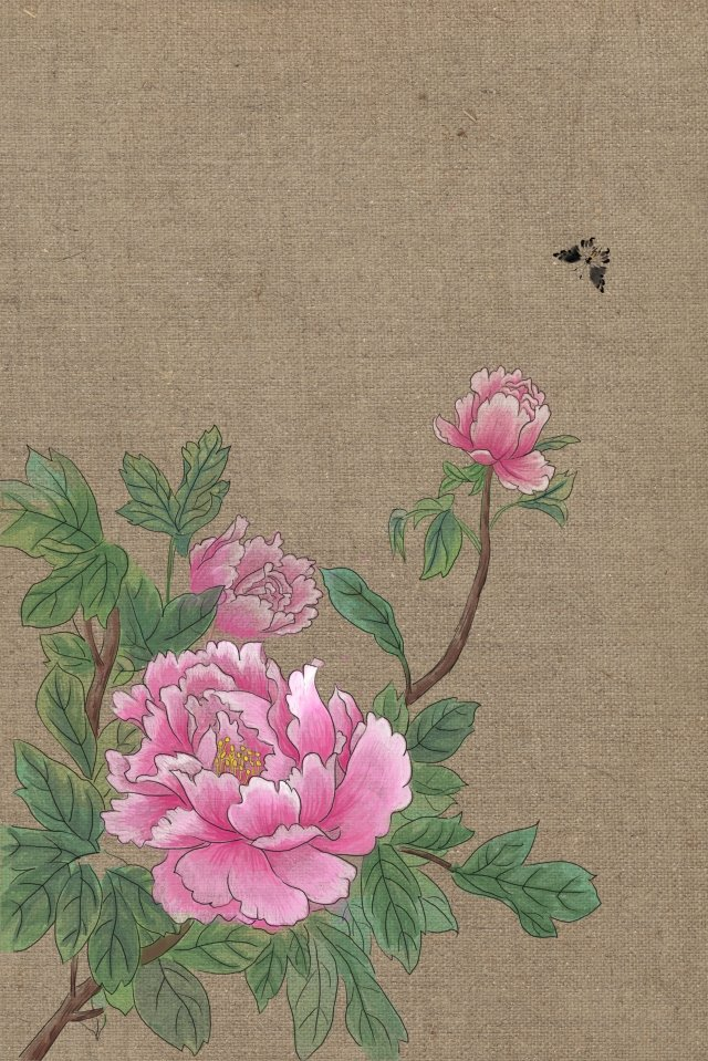 antiquity traditional chinese painting ink light color, Peony, Illustration, Antiquity illustration image