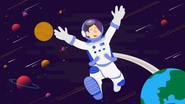 astronaut galaxy universe outer space llustration image