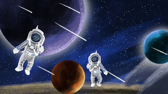 astronaut technology space planet llustration image