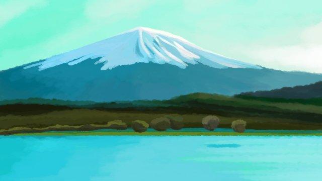 アトラクション紅葉富士山図 イラスト素材
