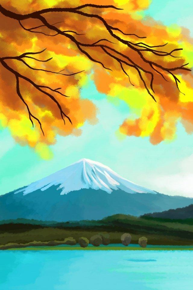 tarikan musim luruh daun gunung fuji ilustrasi imej keterlaluan imej ilustrasi