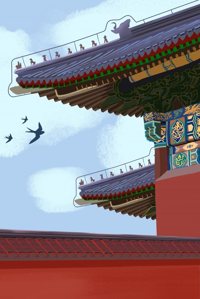 attractions the corner of the forbidden city realistic forbidden city, Archaic Architecture, Historical Monument, Building illustration image