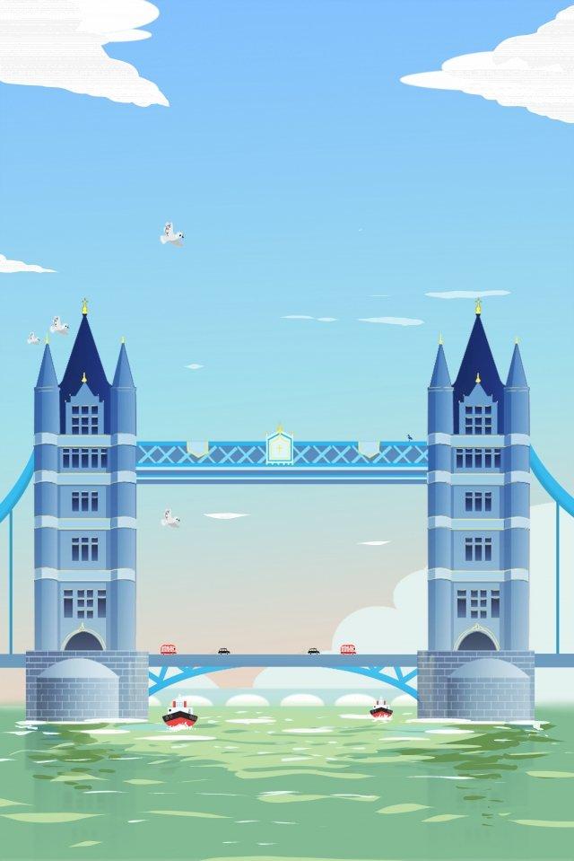 관광 명소 영국 런던 브리지 멋진 색상 삽화 소재