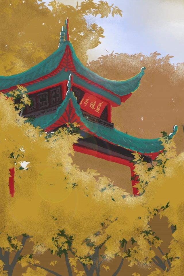 매력 yuelu 산 사랑 밤 파빌리온 가을 삽화 소재