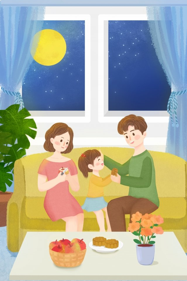 august 15 mid-autumn festival festival family, Reunion, Family, A Family Of Three illustration image