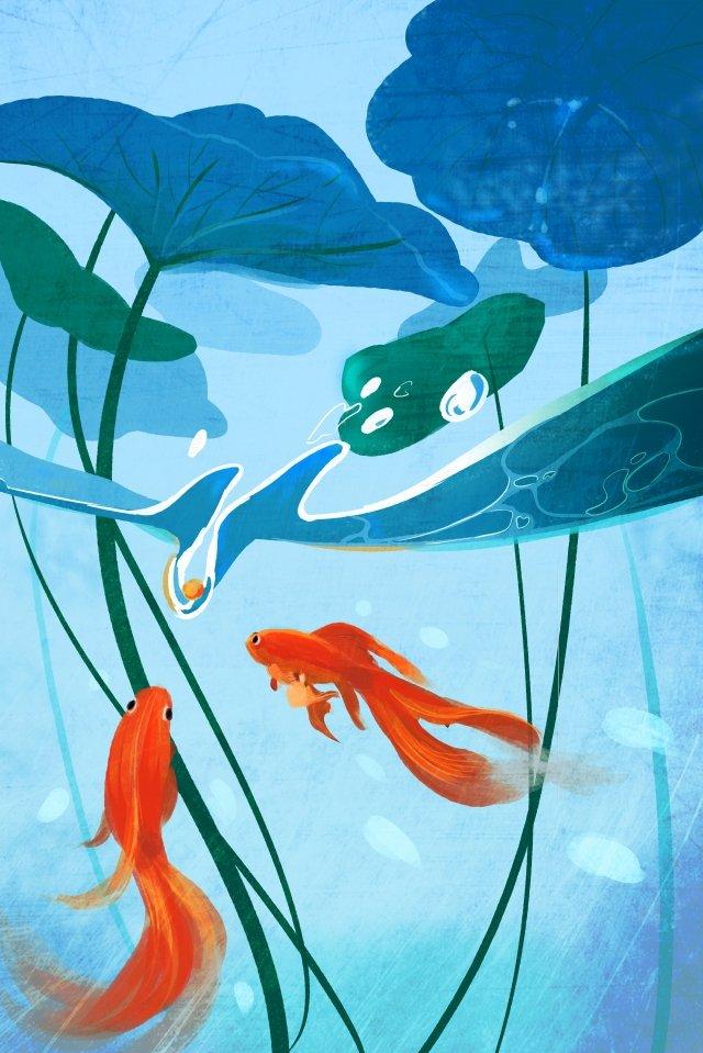 八月八月你好 八月藍色 插畫素材 插畫圖片