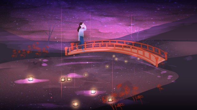august hello in august august 8, Ghost Festival, River Light, Girl On The Bridge illustration image