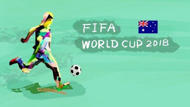 オーストラリアサッカーワールドカップ2018 イラスト素材