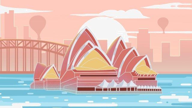 australia sydney theater sunset llustration image
