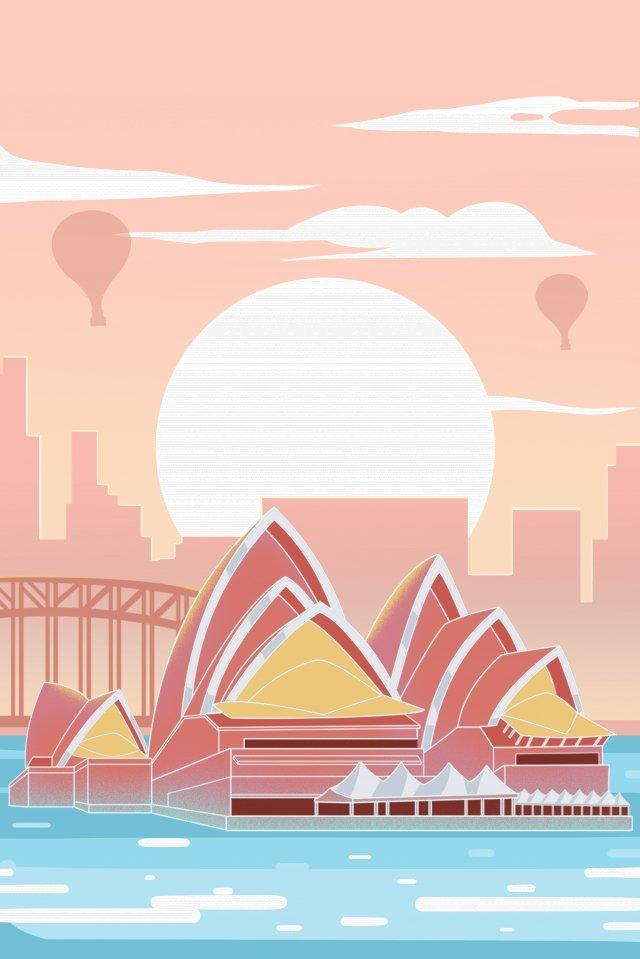 australia sydney theater sunset, Pink, Building, Australia illustration image