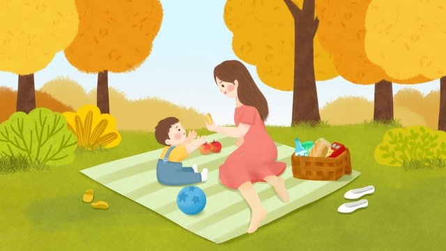 autumn autumn day fall autumn, Character, Child, Mom illustration image