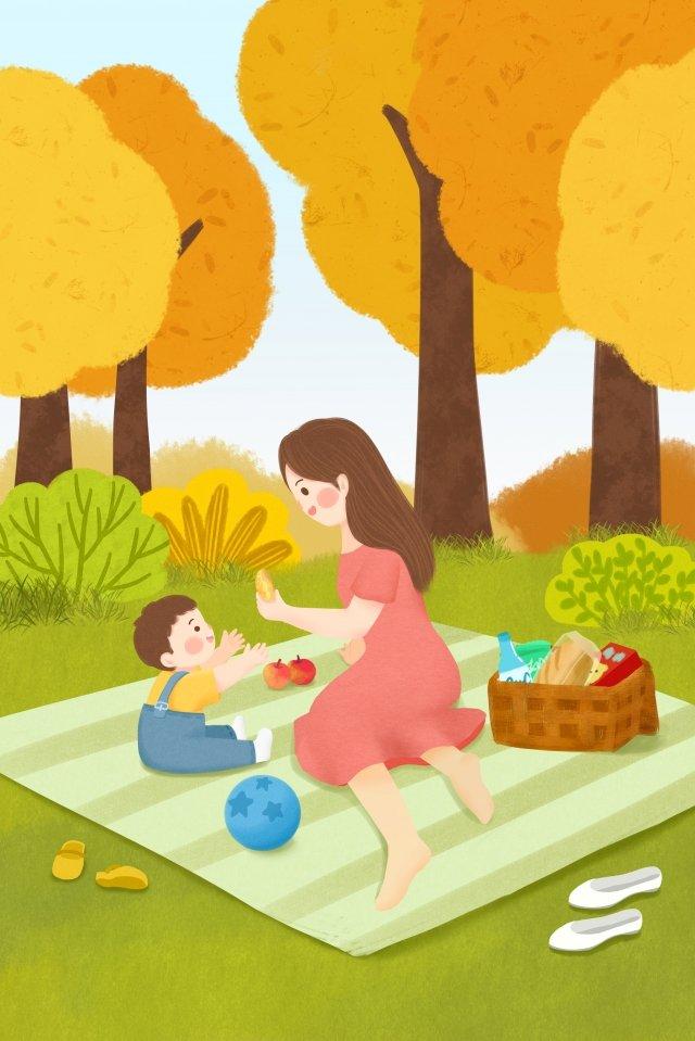autumn autumn day fall autumn, Character, Child, Mom illustration image
