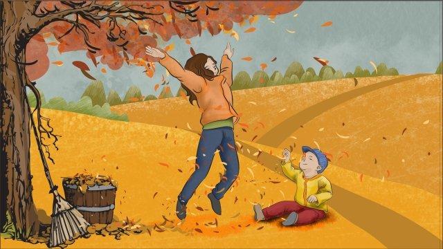 autumn color playmate fallen leaves illustration, Hand Painted, Autumn Color, Playmate illustration image