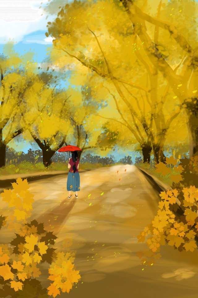 autumn day autumn fall boulevard illustration image