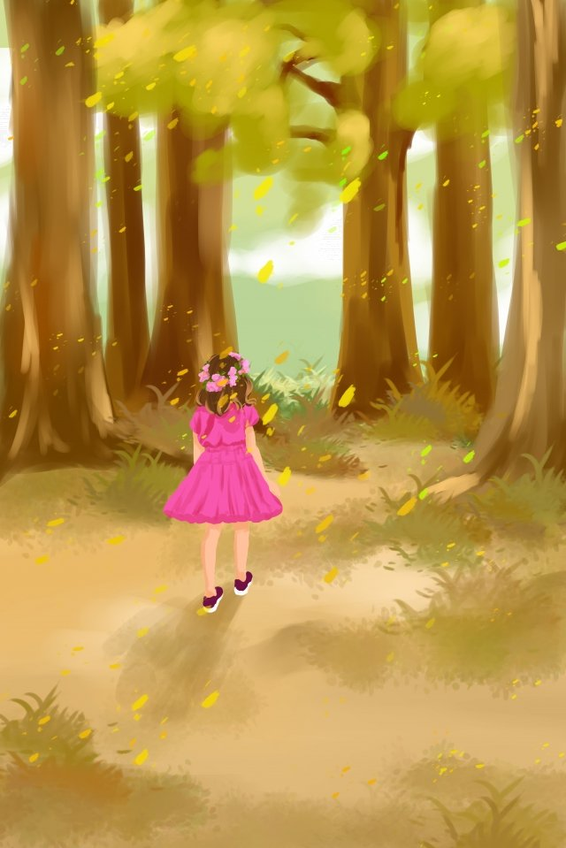 autumn day autumn fall girl llustration image