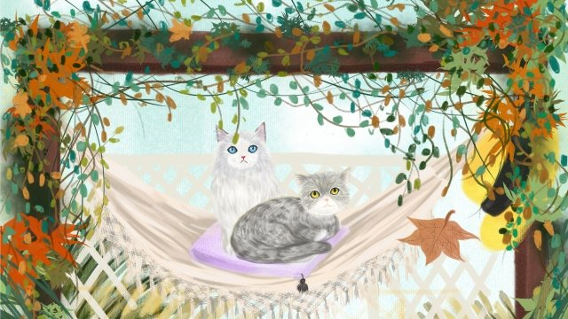autumn day fall autumn cat llustration image