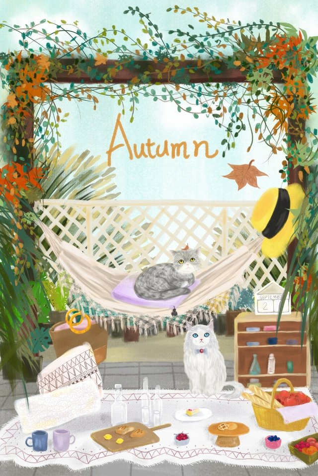 autumn day fall autumn cat illustration image