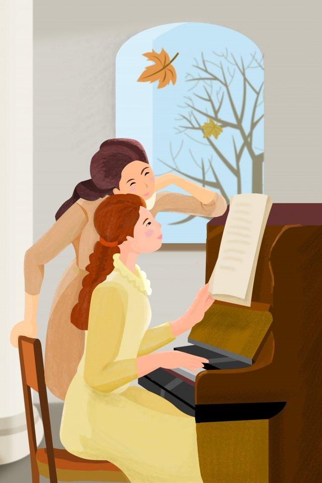menina de outono outono dia tocando piano Material de ilustração