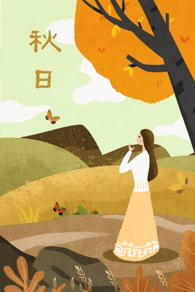 musim luruh musim gugur perempuan meninggalkan pokok pokok imej keterlaluan