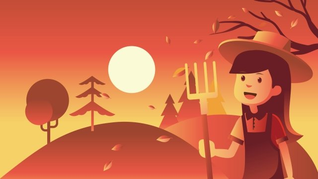 autumn fall harvest girl llustration image illustration image