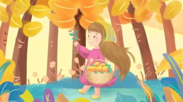 秋秋収穫狩り農村 イラスト素材