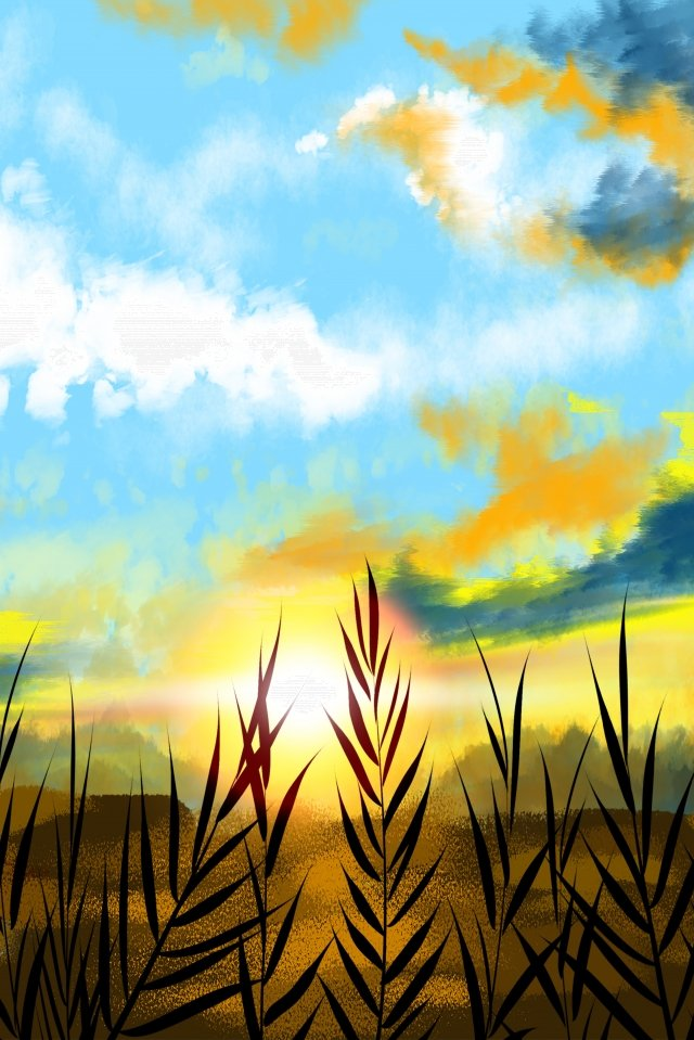 autumn fall sunset sunset, Natural, Landscape, Autumn illustration image