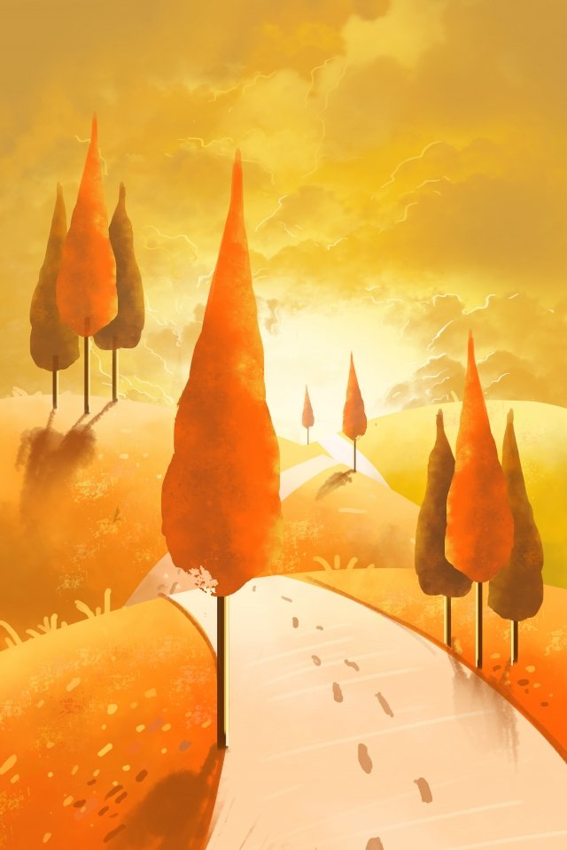 秋祭り休日シーズン日没グローツリーウォーキング イラストレーション画像