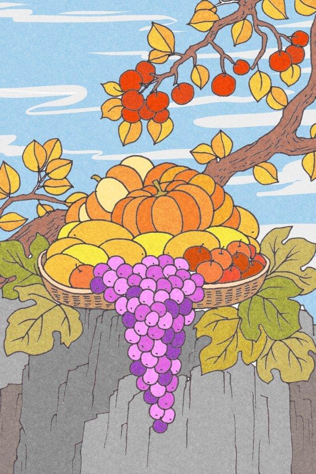 秋の収穫の果物と野菜のイラスト イラスト素材