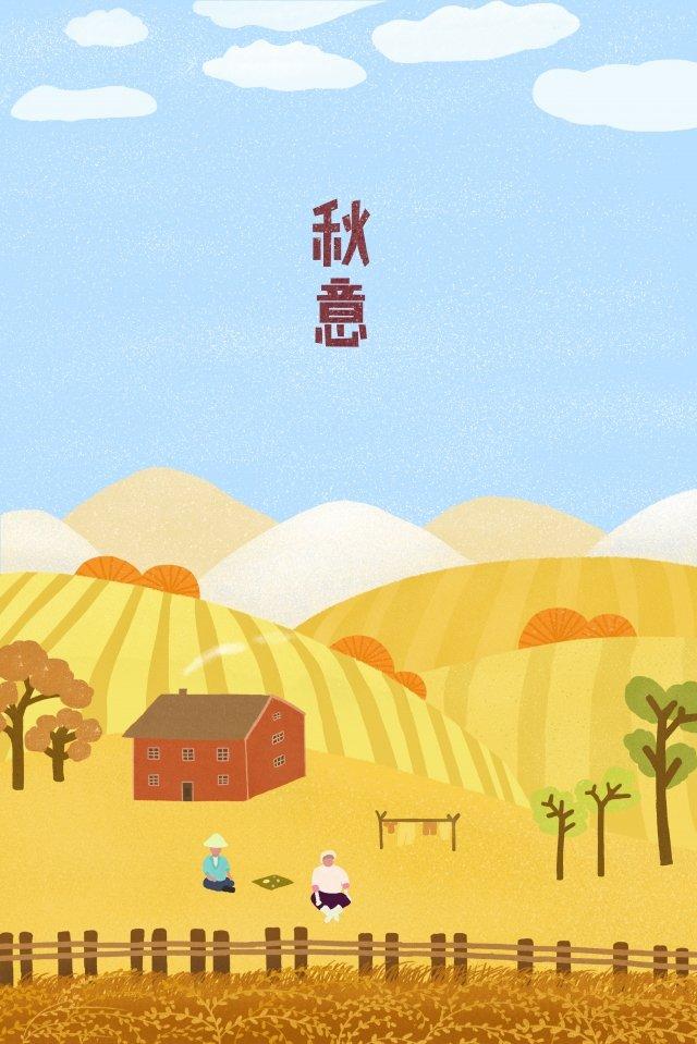 秋の収穫収穫農村農家 イラストレーション画像
